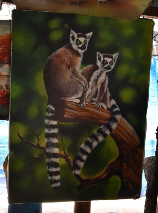 Ring-tailed lemur painting
